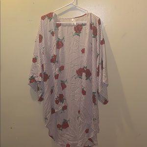 Live 4 Truth, rose & stripe kimono, size M